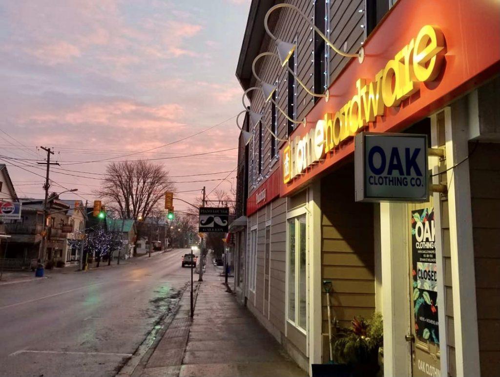 Home Hardware, sunrise, streetside, prince edward county