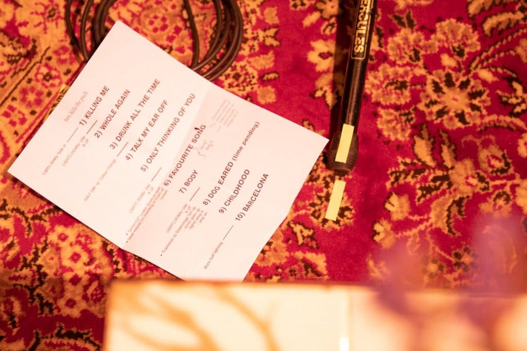 A setlist for a performance at The Regent Theatre, Picton, Prince Edward County