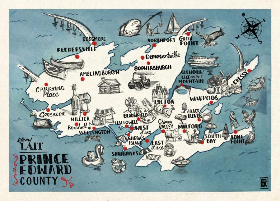 Prince Edward County map LIFE AU LAIT